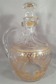 """Rare and Antique Baccarat """"Lily of the Valley"""" Gold Encrusted Decanter"""