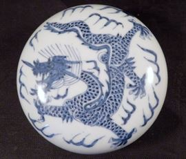 Chinese Blue & White Porcelain Imperial Dragon Scholar's Ink or Cosmetic Box Marked Qianlong