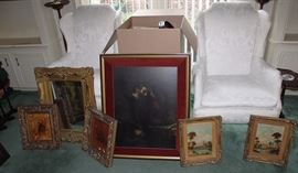 Antique Mirror and Artwork, Pair of Wing Back Chairs