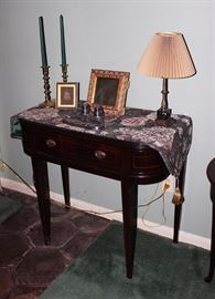 Side Table, Candle Sticks, Lamps, Inkwell, Artwork