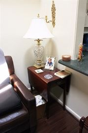 Drop Leaf Side Table, Lamps, Leather Arm Chair