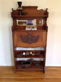 Vintage secretary book case oak