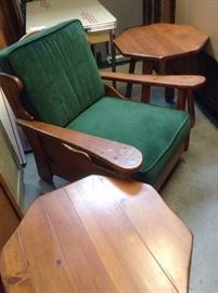 Vintage rustic pine chair with matching tables.