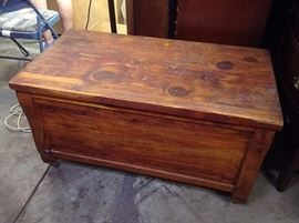 Rustic wood blanket chest