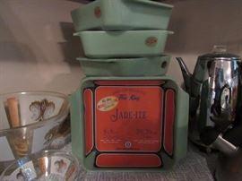 Retro glassware, Jadeite square pans, Percolater