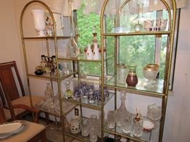 Glass and brass shelving, Retro glassware