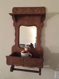 Antique Shave Station Mirror with Mug and Brushes