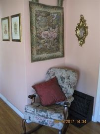 Tapestry, Upholstered Vintage Rocking Chair