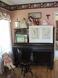 Upright Piano, Antique Piano Bench, Vintage Dolls