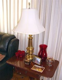 Vintage Drop-Leaf End Table, Stiffel Table Lamp