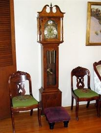 Antique Needlepoint Seat Carved Wood Victorian Side Chairs, Tempus Fugit German Grandmother Clock, Vintage Leather Footstool