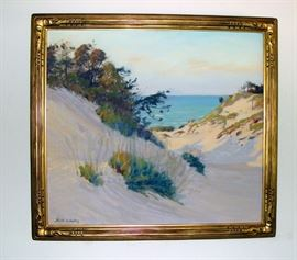 "SOLD                                                                                  ""Dunes"" Painting by Frank Virgil Dudley (1868-1957) Oil on Canvas in Gilt Frame"