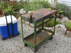 Vintage steel shop cart.