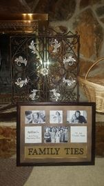 Kirkland's picture frame & iron fireplace gate