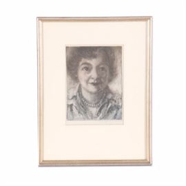 Emily B. Waite Etching on Paper Portrait of A Woman: An etching on paper portrait of a woman by well-listed artist Emily B. Waite (1887 – 1980). Depicted is a middle-aged woman wearing lipstick, blouse, and beaded necklace. This piece is signed in graphite to the lower right corner. Presented under glass in cream tone mat and silver tone composite frame.