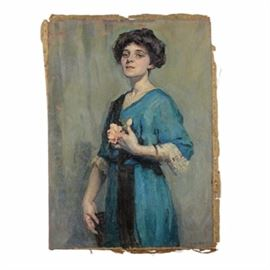 Emily B. Waite Oil on Canvas Portrait of Woman: An oil portrait of a woman on an unstretched canvas by well-listed American artist Emily Burling Waite (Massachusetts/Rhode Island; 1887 – 1980). This nearly full-body portrait features a three-quarter view of a young brunette woman dressed in a blue gown with black embellishments. The woman holds some flowers up to her chest in her left hand and a handbag in her right hand hanging by her side. She stares out at the viewer with a serious expression. The work is signed with the artist's monogram in black to the lower right. This work comes unframed and unstretched.