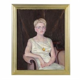 "Emily B. Waite Oil on Canvas ""Portrait of Mrs. H. Ladd Plumley"": An oil portrait of an older woman titled Portrait of Mrs. H. Ladd Plumley by well-listed American artist Emily Burling Waite (Massachusetts/Rhode Island; 1887 – 1980). This half-body portrait features an older woman dressed in a fancy white sheen dress and seated in a purple upholstered arm chair. Portrayed with thick painterly brushstrokes and vibrant colors, the sitter wears a long necklace with a large yellow pendant, and she looks off to the left. The painting is signed in red to the lower left. A descriptive label with the title and artist's name is affixed to the verso. Presented in a gold-tone wood frame."