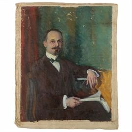 Emily B. Waite Oil on Canvas Portrait of Man: An oil portrait of a man on an unstretched canvas by well-listed American artist Emily Burling Waite (Massachusetts/Rhode Island; 1887 – 1980). This nearly full-body portrait features a three-quarter view of a seated gentleman wearing a brown suite with a brown vest and green bowtie. He sits in an armchair with a booklet in his lap, and stares out to the viewer with a serious expression. No signature is visible on the canvas. This work is presented unframed and unstretched.