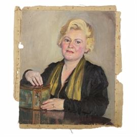 Emily B. Waite Oil on Canvas Portrait of Woman: An oil portrait of a woman on an unstretched canvas by well-listed American artist Emily Burling Waite (Massachusetts/Rhode Island; 1887 – 1980). This half-body portrait features a three-quarter view of a middle-aged woman with short blonde hair, wearing a black jacket and a yellow-green scarf. She rests her arm on a reflective surface and places her hands on a decorative paneled box, as she gazes out to the viewer with a serious expression. This work is signed in pink to the lower left; the canvas is unframed and unstretched.