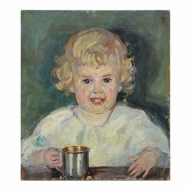 Emily B. Waite Oil Painting on Board Portrait of a Baby: An oil painting on board portrait of a baby by well-listed artist Emily B. Waite (1887 – 1980). Depicted is a blond haired baby smiling widely and holding a metal mug. This piece comes unsigned and is presented unframed.