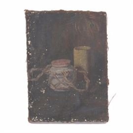 Emily B. Waite Oil Painting on Burlap Canvas Still Life: An oil painting on burlap canvas of a still life by well-listed artist Emily B. Waite (1887 – 1980). The composition in dark tones includes a blue jar encased in a woven rope net and a mustard colored cup. A peacock feather is faintly visible in the upper right corner of the composition. The piece is unsigned and unframed.