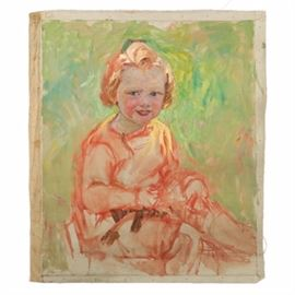 Emily B. Waite Oil Painting on Unstretched Canvas of a Child: An oil painting on unstretched canvas of a child by well-known artist Emily B. Waite (1887 – 1980). Depicted is a child with short blond hair wearing a red tone seated in a green area. This piece is unsigned and comes presented as an unframed, unstretched canvas.