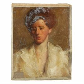 Emily B. Waite Oil Painting on Unstretched Canvas Portrait of a Woman: An oil painting on unstretched canvas portrait of a woman by well-known artist Emily B. Waite (1887 – 1980). Depicted is a young woman with her hair styled in an updo wearing a garment with a deep v-neck. To the lower right corner, a label from the School of the Museum of Fine Arts, in Boston Massachusetts is present with the artist's signature. This work is presented as an unframed, unstretched canvas.