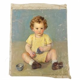 Emily B. Waite Oil Painting on Unstretched Canvas Portrait of a Baby: An oil painting on unstretched canvas portrait of a baby by well-listed artist Emily B. Waite (1887 – 1980). Within a blue and gray background, the piece depicts a brown golden haired baby, dressed in yellow clothing, gazing directly at the viewer while holding a ball and metal mug. This piece is signed in brown by the artist to the lower right corner of the composition. This work is presented unframed and unstretched.
