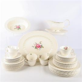 "Spode's Jewell ""Billingsley Rose"" China: A set of Spode's Jewel Billingsley Rose china. The set features a center rose medallion and includes one platter, seven dinner plates, eight salad plates, eight soup bowls, eight bread plates, eight saucers and seven tea cups, a gravy boat and an oval vegetable bowl. Each piece is marked to the underside Spode's Jewell Copeland England Reg No 70392 US Patt June 15th 1926 Billingley."