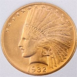1932 $10 Indian Head Gold Coin: A 1932 $10 Indian Head gold coin. Designed: Augusta Saint-Gaudens. Mintage: 4,463,000. Metal Content: 90% gold 10% copper. Diameter: 26.80 mm. Weight: approximately 16.70 grams. Good condition.