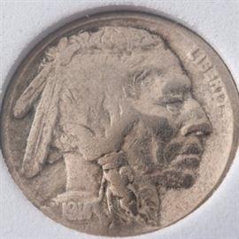 Rare 1914/3 Overdate Buffalo Nickel: A rare 1914/3 overdate Buffalo nickel. Designer: James Earle Fraser. Metal content: 75% copper, 25% nickel. Diameter: 21.2 mm. Weight: 5 grams. Circulated. Fair condition.