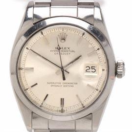 1966 Vintage Rolex Swiss Made Datejust Stainless Steel Wristwatch: A 1966 vintage Rolex Oyster Perpetual Datejust Superlative Chronometer Swiss made stainless steel wristwatch.