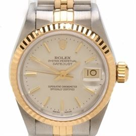 Rolex Datejust 18K Gold & Steel Silver Index Automatic Wristwatch: A Rolex Oyster Perpetual Datejust 18K yellow gold and stainless steel silver dial index automatic wristwatch. The watch does not come with box or papers.