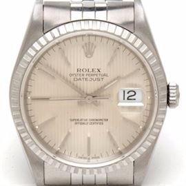 Rolex Datejust Steel 16220 Tapestry Jubilee 36mm Automatic Watch: A Rolex Datejust stainless steel 16220 36.00 mm Tapestry Jubilee automatic wristwatch. The watch does not come with box or papers.
