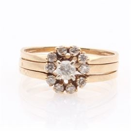 14K Yellow Gold Diamond Wedding Set: A 14K yellow gold diamond wedding set.