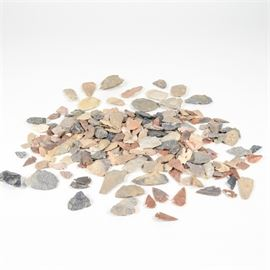 Arrowhead and Flint Collection: A generous collection of arrowheads and flints. This collection includes over seventy-five arrowheads and flints in a variety of sizes, colors, and stones.