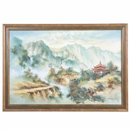 "East Asian Style Oil Painting on Canvas of Mountainous Landscape: An East Asian style oil painting on canvas of a mountainous landscape. This Impressionist painting depicts a pagoda nestled on a sloped hill which is surrounded by lush brush and trees. This overlooks a rushing waterfall that winds backwards into a faded cluster of pointed mountains and trees. To the lower right corner of the composition is an artist signature appearing to read ""Robert Tsuin"". The painting is presented in bronze and olive green wooden frame with hanging rope to the verso."