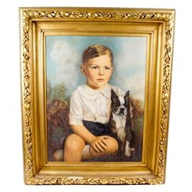 "Cora V. Roberts Oil Painting Portrait: A Cora V. Roberts oil painting portrait on academy board. The painting depicts a young boy in short pants with French bulldog. The painting is signed in the bottom right corner ""Cora V. Roberts, 1938"" and comes displayed in an ornate gold painted wood frame with a wire hanger on its reverse."