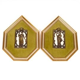 "Pair of Vintage Framed Wall Plaques: A pair of vintage framed wall plaques. Featured here are two shapely, gold painted wood frames surrounding green velvet. In the centers of the velvet sections are bronze tone metal figures against white woven backgrounds. The backs of the frames have wire hangers and are marked ""Beauty for the Home, Sungott Art Studios""."