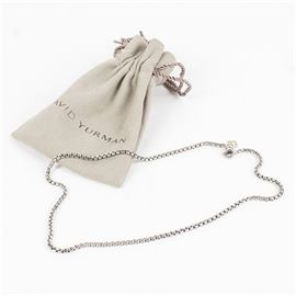 """David Yurman 14K White Gold Chain Necklace: A David Yurman 14K white gold box chain necklace. The necklace includes a """"DY"""" gold wash charm attached to the lobster claw clasp that is hallmarked """"14K"""". Presented in a David Yurman branded tan cinch top pouch."""