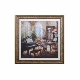 Giclee on Board: A giclee on board with hand applied overpaint detail. This print depicts a large study with a grand piano and a cello awaiting some one to play them. Large arched open windows in the foreground with a blooming red plant. Presented in an ornate composite frame with linen matte.