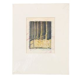 Monoprint on Paper of Architectural Scene: A monoprint on textured paper of an architectural scene with fluted columns and staircase railings. Editioned and illegibly singed by the artist in graphite to the lower margin. Housed between a single layer of white matting and white foam core board; wrapped in protective acetate.