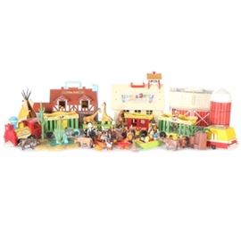 Playsets and Toys Featuring 1970s–1980s Fisher-Price Little People: An assortment of playsets and pretend play toys. This collection features a Fisher-Price #991 Circus Train and #923 Play Family School dating to the 1970s, a #915 Play Family Farm and #952 Play Family House dating to the 1980s, and assorted Fisher-Price Little People figures and accessories, including a camper and a mini school bus. This collection also includes 1990s Playmobil toys depicting cowboys and Native Americans, with accessories including a canoe, a tipi, horses, and a watering hole.