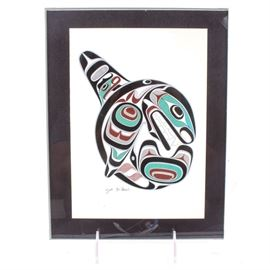 """After Joe Wilson Framed Offset Lithograph """"Killer Whale"""": An offset lithograph after an original piece titled Killer Whale by Native American artist Joe Wilson (1967- ), a member of the Cowichon Band in Canada. The piece depicts the abstract image of a killer whale made from vibrant teal, gray, red, and black Native American symbols. The piece is plate signed """"Joe Wilson"""" to the lower left and set in a black mat. Presents in an acrylic frame."""