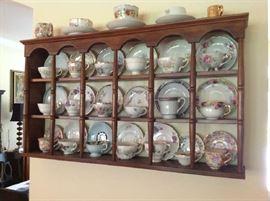 Display Shelf $ 70.00 - Vintage Tea Cup / Saucer Sets $ 8 - $ 12 each.