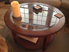 Round Glass / Wood Coffee Table $ 100.00