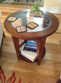 Glass / Wood End Table $ 70.00