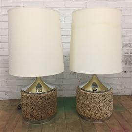 Pair mid-century chrome/cork lamps