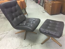 mid-century chair and ottoman