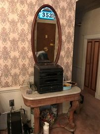Marble Top Table , Stereo , Antique Mirror... odds and ends